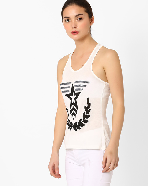 Racerback Printed Top With Embellishments By Vero Moda ( White )