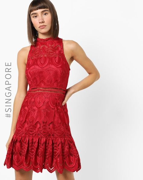 Lace Shift Dress With Ruffled Hemline By MDS ( Red )