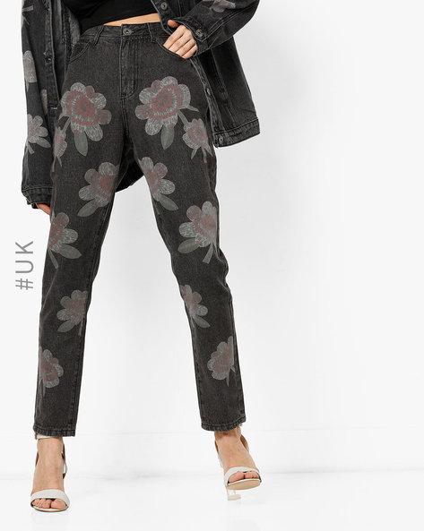 Floral Print High-Rise Jeans By Liquor N Poker ( Black )