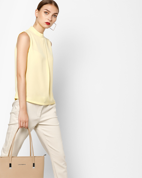 Sleeveless High-Neck Top By AJIO ( Yellow )