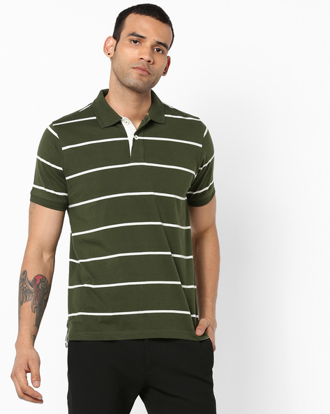 Slim Fit Striped Polo T-shirt By BASICS ( Green )
