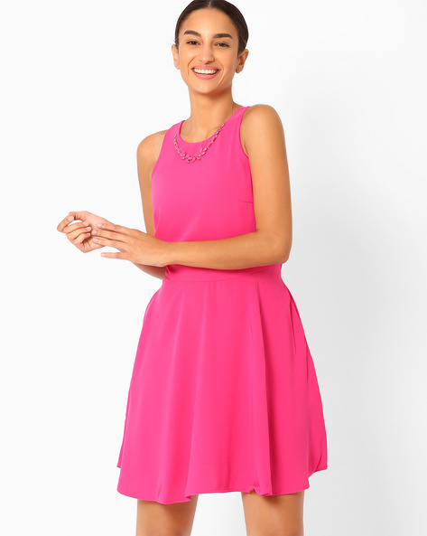 Fit & Flare Dress With Detachable Necklace By AJIO ( Pink )