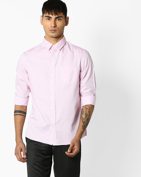 Checked Shirt With Front Patch Pocket By Celio ( Pink )