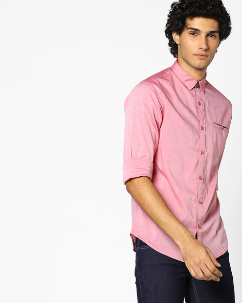 Slim Fit Shirt With Welt Pocket By AJIO ( Red )