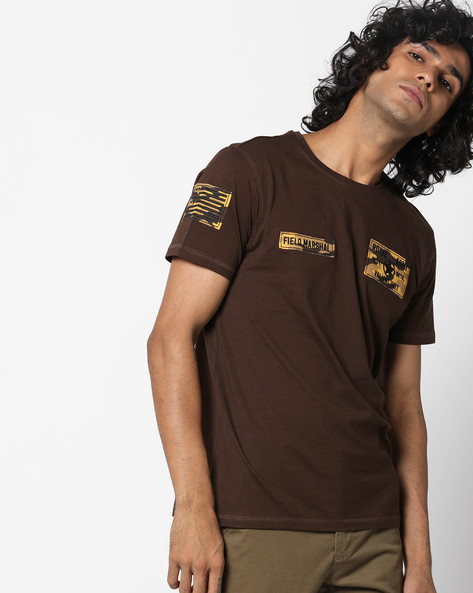 Crew-Neck T-shirt With Appliqué Patches By AJIO ( Brown )