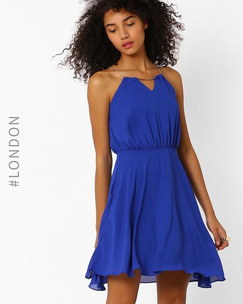 Cutaway Dress With Chain Strap By Zibi London ( Blue )