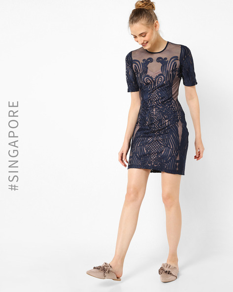 Sheer Embroidered Sheath Dress By MDS ( Navyblue )