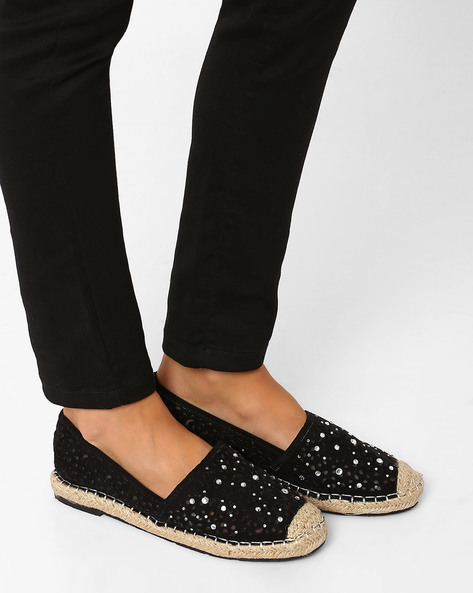 Espadrille Shoes With Cut-Outs By Jove ( Black )