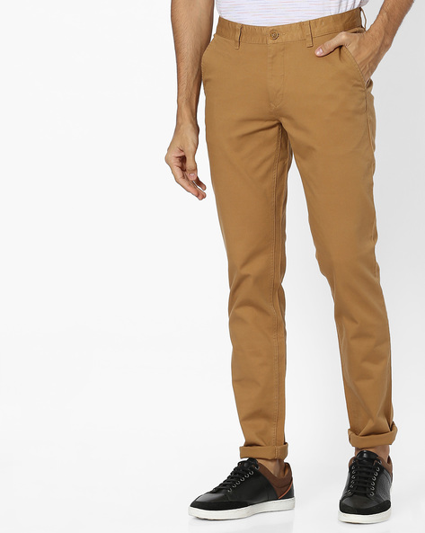 Slim Fit Flat-Front Chinos By JOHN PLAYERS ( Khaki )