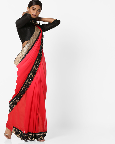 Saree With Embroidered Border By Shonaya ( Red )