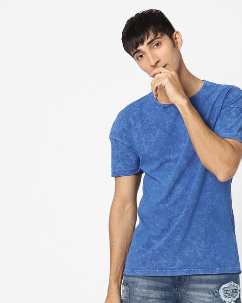 Drop-Shoulder T-shirt With Washed Effect By Blue Saint ( Sblue )