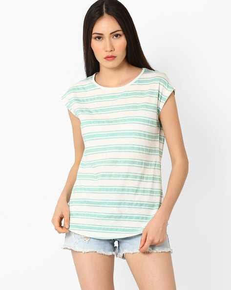 Striped Top With Curved Hem By Fame Forever ( Mint )
