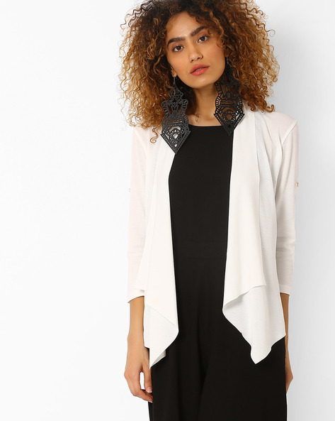 Waterfall Shrug With Lace Panel By RIO ( Offwhite )