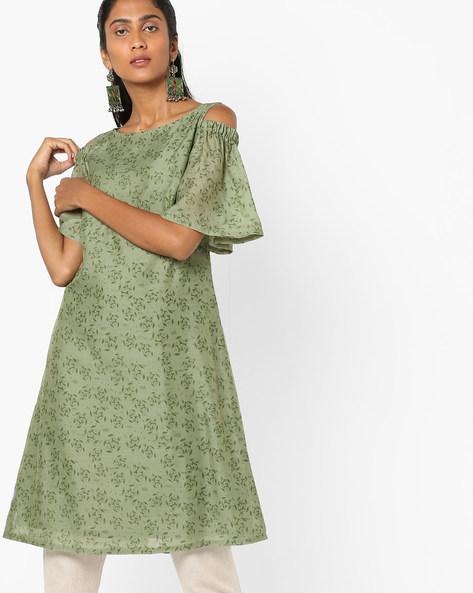 Printed Cold-Shoulder Kurta By AJIO ( Green )