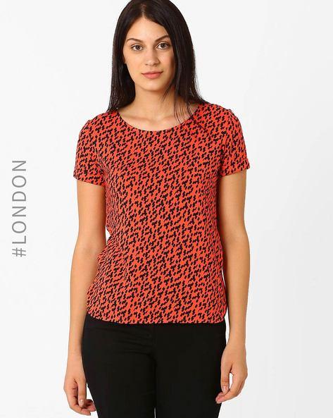 Brushstroke Print T-Shirt By Marks & Spencer ( Red )