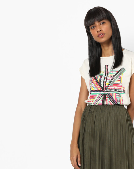 Graphic Print Crew-Neck T-shirt By Pepe Jeans ( Offwhite )