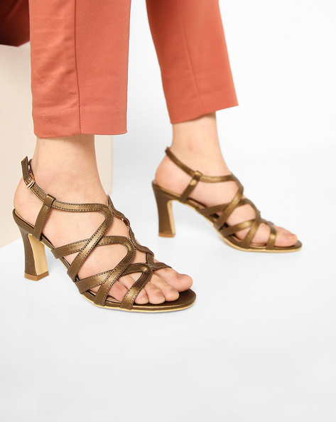 Strappy Heeled Sandals With Buckle Closure By AJIO ( Olive )