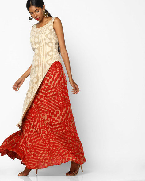 Printed Semi-Stitched Lehenga With Unstitched Top By Parmita ( Cream )