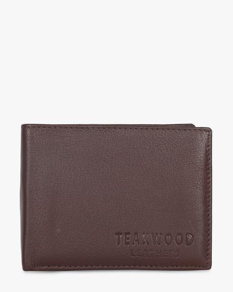Leather Bi-Fold Wallet By TEAKWOOD LEATHERS ( Brown ) - 460173783001