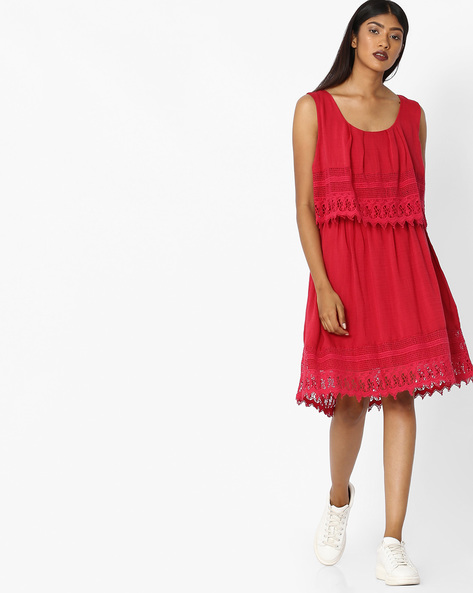 Layered Shift Dress With Lace Panels By Tokyo Talkies ( Red )