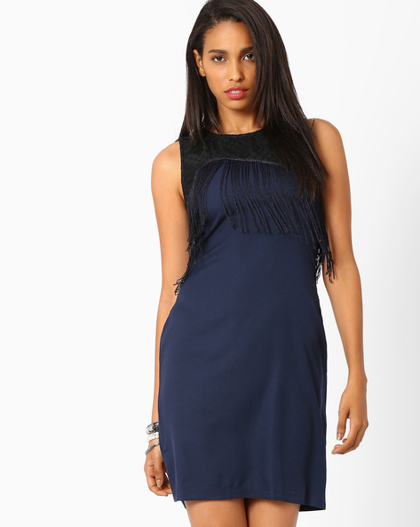 Bodycon Dress With Mesh Yoke By AJIO ( Navyblue )