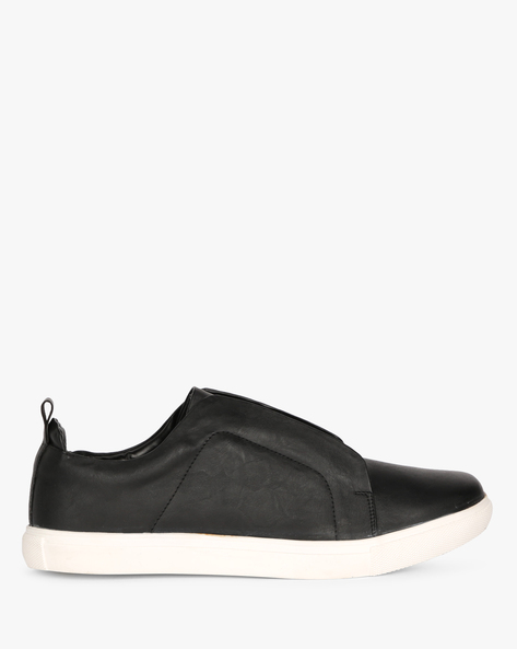 N9-Treated Faux Leather Slip-On Sneakers By AJIO ( Black )