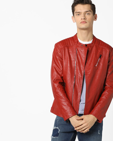Slim Fit Biker Jacket With Mandarin Collar By The Indian Garage Co ( Red )