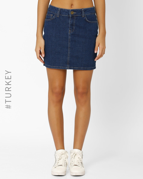 Mini Skirt With 5-Pocket Styling By BATIK ( Blue )