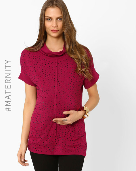 Embellished Maternity Top By AJIO ( Purple )