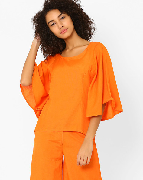 Top With Flared Raglan Sleeves By AJIO ( Orange )