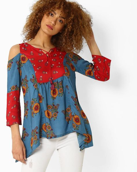 Floral Print Cold-Shoulder Top By Global Desi ( Blue )