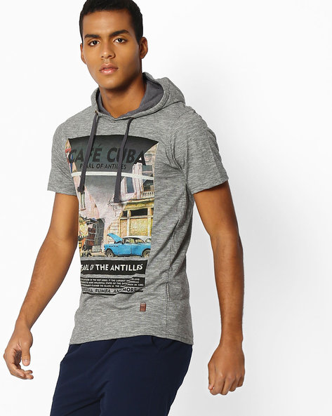 Graphic Print T-shirt With Hood By DNM X ( Medgrey )