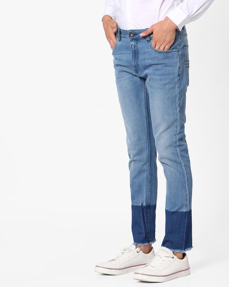 Slim Fit Cotton Twill Jeans By Blue Saint ( Blue )