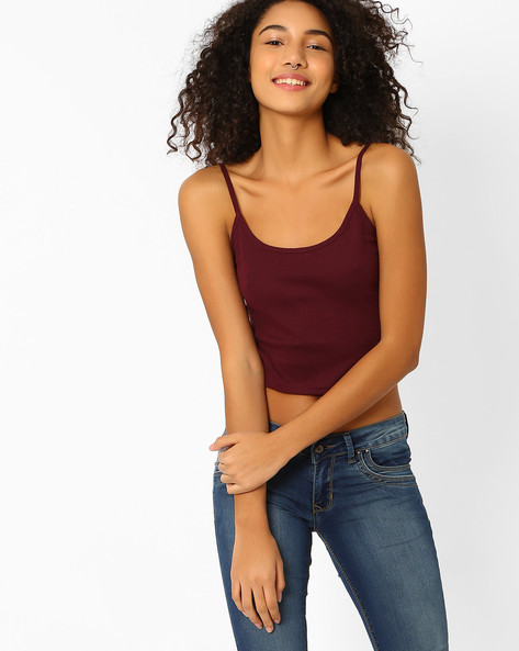 Cropped Cotton Camisole By Only ( Purple )