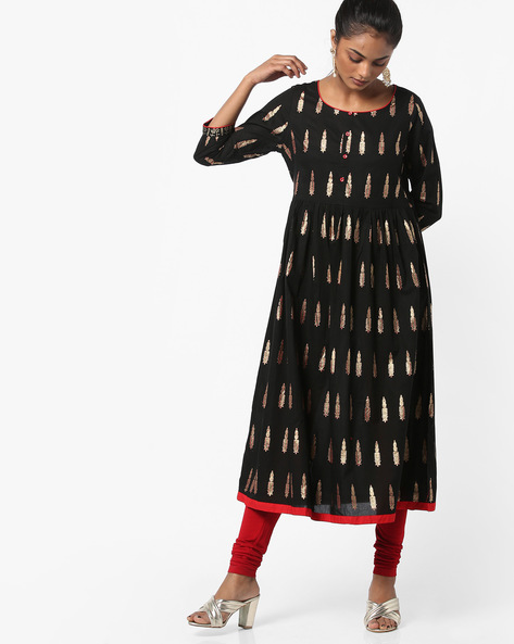 Foil Print Anarkali Kurta With Chruridar By Melange By Lifestyle ( Black )