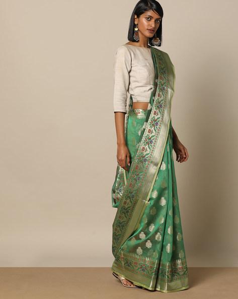 Banarasi Silk Saree With Zari Border By Rudrakaashe-MSU ( Green ) - 460153716001