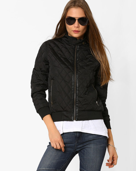 Quilted Jacket With Front Zipper By AJIO ( Black )