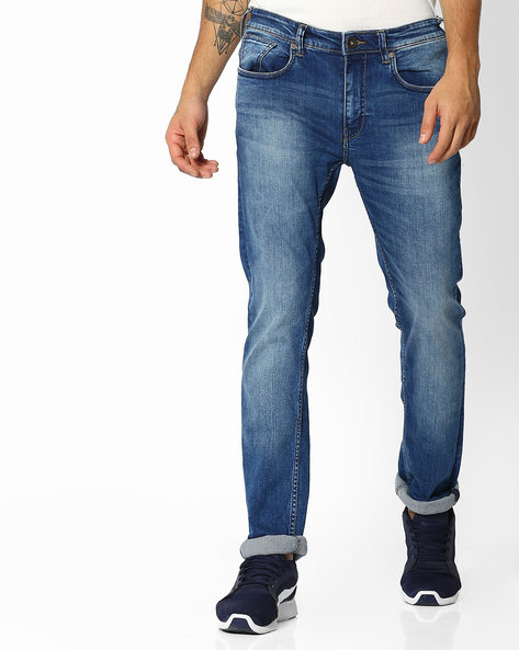 Mid-Rise Slim Fit Jeans By Pepe Jeans ( Lightblue )