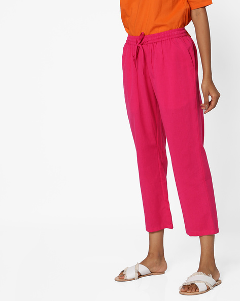 Cropped Pants With Drawstring Fastening By Project Eve IW Casual ( Fuchsia )