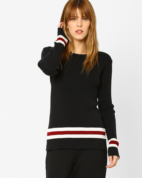 Flat-Knit Sweater By AJIO ( Black )