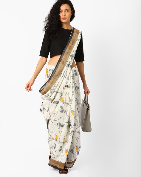 Printed Saree With Striped Pallu By Pihu ( Grey )