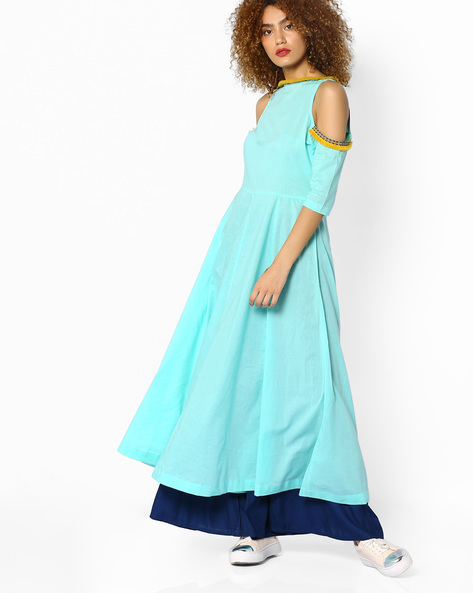 Fit & Flare Kurta With Cold-Shoulder Sleeves By Sassafras ( Blue )