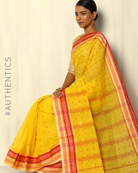 Bengal Handloom Tant Tangail Buti Cotton Saree By Indie Picks ( Yellow )