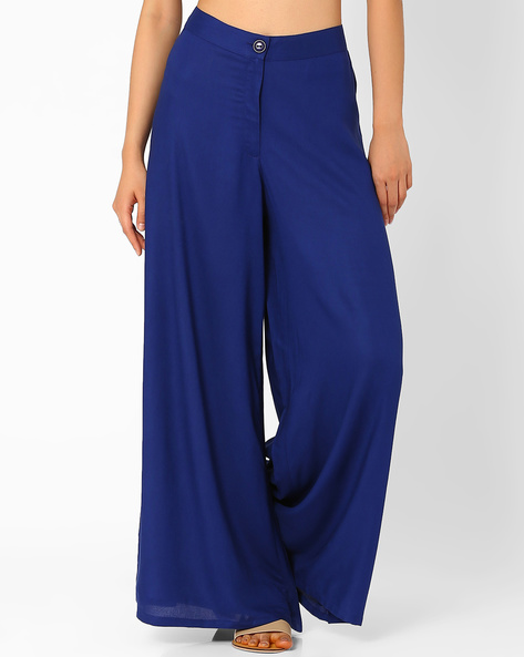 Alba Palazzo Pants By Global Desi ( Blue )