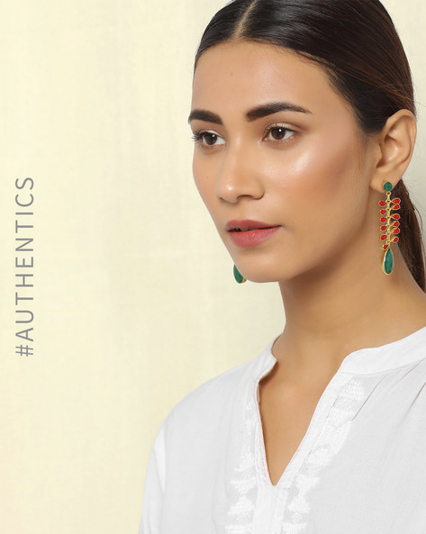 Gold-Plated Traditional Drop-Earrings By Courtyard ( Multi )