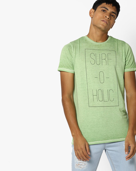 Typographic Print Crew-Neck T-shirt By BASICS ( Green )