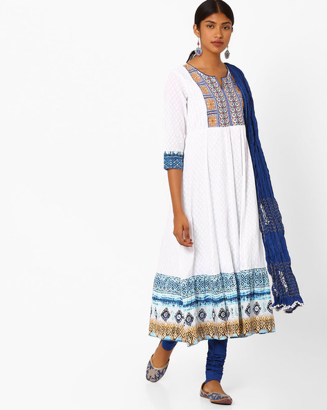 Embroidered Churidar Kurta With Dupatta By Rain & Rainbow ( Blue )