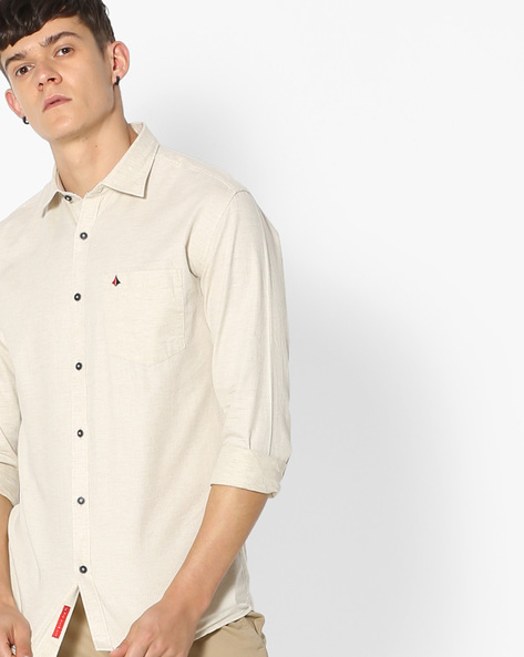 Slim Fit Shirt With Self-Design By British Club ( Beige )