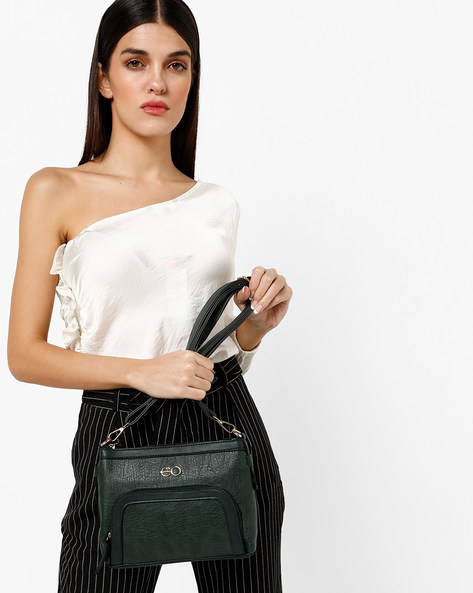 Textured Sling Bag With Detachable Strap By E2O ( Green )