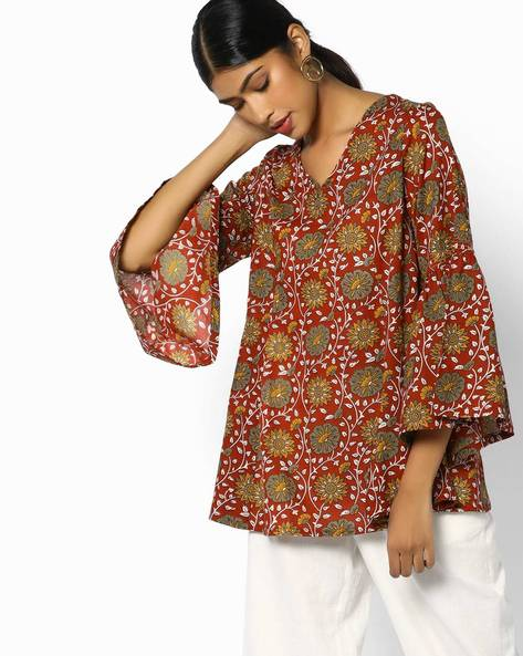 Floral Print Top With Bell Sleeves By AJIO ( Rust )